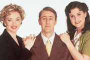 Goodnight Sweetheart. Image shows from L to R: Yvonne Sparrow (Emma Amos), Gary Sparrow (Nicholas Lyndhurst), Phoebe Sparrow (Elizabeth Carling). Image credit: Alomo Productions.