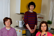 Grandma's House. Image shows from L to R: Grandma (Linda Bassett), Simon (Simon Amstell), Tanya (Rebecca Front). Image credit: Tiger Aspect Productions.
