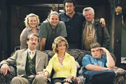 The Green Green Grass. Image shows from L to R: Imelda Cakeworthy (Ella Kenion), Boycie (John Challis), Jed (Peter Heppelthwaite), Marlene Boyce (Sue Holderness), Bryan (Ivan Kaye), Elgin Sparrowhawk (David Ross), Tyler Boyce (Jack Doolan). Copyright: Shazam Productions.