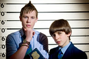 Half Moon Investigations. Image shows from L to R: Red Sharkey (Sebastian Charles), Fletcher 'Half' Moon (Rory Elrick). Copyright: BBC.