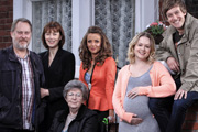 Hebburn. Image shows from L to R: Joe Pearson (Jim Moir), Pauline Pearson (Gina McKee), Dot (Pat Dunn), Vicki (Lisa McGrillis), Sarah Pearson (Kimberley Nixon), Jack Pearson (Chris Ramsey). Image credit: Channel X North.
