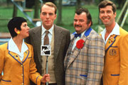 Hi-De-Hi!. Image shows from L to R: Gladys Pugh (Ruth Madoc), Jeffrey Fairbrother (Simon Cadell), Ted Bovis (Paul Shane), Spike Dixon (Jeffrey Holland). Image credit: British Broadcasting Corporation.