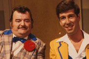 Hi-De-Hi!. Image shows from L to R: Ted Bovis (Paul Shane), Spike Dixon (Jeffrey Holland). Image credit: British Broadcasting Corporation.