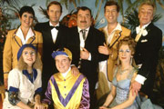 Hi-De-Hi!. Image shows from L to R: Gladys Pugh (Ruth Madoc), Peggy Ollerenshaw (Su Pollard), Sqdn-Ldr Clive Dempster DFC (David Griffin), Fred Quilly (Felix Bowness), Ted Bovis (Paul Shane), Spike Dixon (Jeffrey Holland), Yvonne Stuart-Hargreaves (Diane Holland), Barry Stuart-Hargreaves (Barry Howard). Image credit: British Broadcasting Corporation.