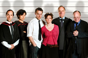 High Table, Lower Orders. Image shows from L to R: Dean (Michael Maloney), Patricia (Rebecca Front), Simon Harrison (Samuel West), Zoe Templeton (Sharon Small), Gilbert (Geoffrey Palmer), Bernard (Jonathan Coy). Copyright: BBC.