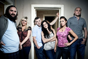 Him & Her. Image shows from L to R: Dan (Joe Wilkinson), Shelly (Camille Coduri), Steve (Russell Tovey), Becky (Sarah Solemani), Laura (Kerry Howard), Paul (Ricky Champ). Image credit: Big Talk Productions.
