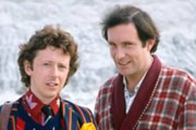 The Hitchhiker's Guide To The Galaxy. Image shows from L to R: Ford Prefect (David Dixon), Arthur Dent (Simon Jones). Image credit: British Broadcasting Corporation.