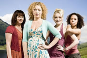 Hope Springs. Image shows from L to R: Hannah Temple (Sian Reeves), Ellie Lagden (Alex Kingston), Shoo Coggan (Christine Bottomley), Josie Porritt (Vinette Robinson). Copyright: Shed Productions.