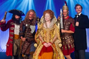 Horrible Histories. Image shows from L to R: Jim Howick, Simon Farnaby, Martha Howe-Douglas, Mathew Baynton, Ben Willbond. Copyright: Lion Television / Citrus Television.