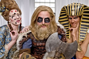 Horrible Histories. Image shows from L to R: Martha Howe-Douglas, Ben Willbond, Mathew Baynton. Copyright: Lion Television / Citrus Television.