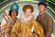Horrible Histories. Image shows from L to R: Mathew Baynton, Martha Howe-Douglas, Laurence Rickard. Image credit: Lion Television.
