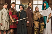 Horrible Histories. Image shows from L to R: Laurence Rickard, Ben Willbond, Martha Howe-Douglas, Mathew Baynton, Jim Howick, Simon Farnaby. Image credit: Lion Television.
