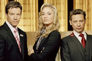 Hotel Babylon. Image shows from L to R: Charlie Edwards (Max Beesley), Rebecca Mitchell (Tamzin Outhwaite), Tony Casemore (Dexter Fletcher). Copyright: Carnival Films.