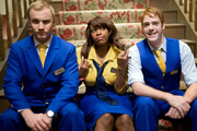 Hotel Trubble. Image shows from L to R: Jamie (Sam Phillips), Sally (Dominique Moore), Lenny (Gary Damer). Image credit: British Broadcasting Corporation.