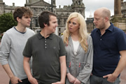 Impractical Jokers. Image shows from L to R: Joel Dommett, Paul McCaffrey, Roisin Conaty, Marek Larwood. Copyright: Yalli Productions / Shed Productions.