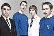The Inbetweeners. Image shows from L to R: Will Mackenzie (Simon Bird), Neil Sutherland (Blake Harrison), Jay Cartwright (James Buckley), Simon Cooper (Joe Thomas). Image credit: Bwark Productions.