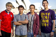 The Inbetweeners Go Global. Image shows from L to R: James Buckley, Simon Bird, Joe Thomas, Blake Harrison. Copyright: Bwark Productions.