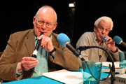 I'm Sorry I Haven't A Clue. Image shows from L to R: Graeme Garden, Barry Cryer. Image credit: British Broadcasting Corporation.