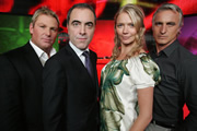 It's Going To Penalties. Image shows from L to R: Shane Warne, James Nesbitt, Jodie Kidd, David Ginola. Copyright: Objective Productions / North One Television.