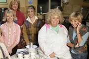 Jam & Jerusalem. Image shows from L to R: Susie (Suzy Aitchison), Eileen Pike (Maggie Steed), Tip Haddam (Pauline McLynn), Rosie Bales (Dawn French), Sal Vine (Sue Johnston). Copyright: BBC.
