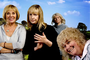 Jam & Jerusalem. Image shows from L to R: Sal Vine (Sue Johnston), Tip Haddam (Pauline McLynn), Caroline Martin (Jennifer Saunders), Rosie Bales (Dawn French). Image credit: British Broadcasting Corporation.