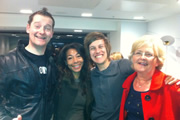 Jason Cook's Happiness HQ. Image shows from L to R: Jason Cook, Sandra Scott, Chris Ramsey, Pat Cook. Copyright: BBC.