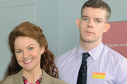 The Job Lot. Image shows from L to R: Trish (Sarah Hadland), Karl (Russell Tovey). Copyright: Big Talk Productions.