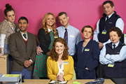 The Job Lot. Image shows from L to R: Bryony (Sophie McShera), Ash (Nick Mohammed), Natalie (Laura Aikman), Trish (Sarah Hadland), Karl (Russell Tovey), Angela (Jo Enright), Paul (Martin Marquez), Janette (Angela Curran). Image credit: Big Talk Productions.