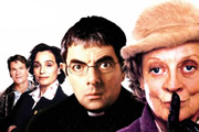 Keeping Mum. Image shows from L to R: Lance (Patrick Swayze), Gloria Goodfellow (Kristin Scott Thomas), Reverend Walter Goodfellow (Rowan Atkinson), Grace Hawkins (Maggie Smith). Image credit: Keeping Mum Productions.
