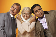 The Kumars. Image shows from L to R: Ashwin (Vincent Ebrahim), Ummi (Meera Syal), Sanjeev (Sanjeev Bhaskar). Image credit: Hat Trick Productions.