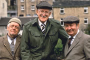 Last Of The Summer Wine. Image shows from L to R: William 'Compo' Simmonite (Bill Owen), Herbert 'Truly' Truelove (Frank Thornton), Norman Clegg (Peter Sallis). Image credit: British Broadcasting Corporation.