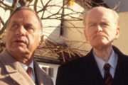 The Legacy Of Reginald Perrin. Image shows from L to R: Jimmy Anderson (Geoffrey Palmer), C.J. (John Barron).