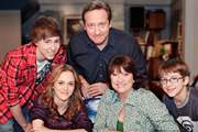 Life Of Riley. Image shows from L to R: Danny Riley (Taylor Fawcett), Katy Riley (Lucinda Dryzek), Jim Riley (Neil Dudgeon), Maddy Riley (Caroline Quentin), Ted Jackson (Patrick Nolan). Copyright: Catherine Bailey Productions Limited.