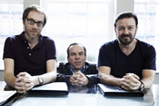 Life's Too Short. Image shows from L to R: Stephen (Stephen Merchant), Warwick (Warwick Davis), Ricky (Ricky Gervais). Image credit: British Broadcasting Corporation.