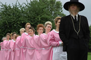 LifeSpam: My Child Is French. Image shows from L to R: Alice Lowe, Man With 1000 Wives (Simon Farnaby). Copyright: Arbie.