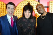 Live At The Apollo. Image shows from L to R: Al Porter, Noel Fielding, Dane Baptiste. Copyright: Open Mike Productions.