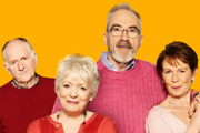 Love And Marriage. Image shows from L to R: Ken Paradise (Duncan Preston), Pauline Paradise (Alison Steadman), Tommy Sutherland (Larry Lamb), Rowan Holdaway (Celia Imrie). Image credit: Tiger Aspect Productions.
