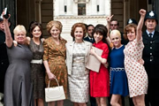 Made In Dagenham. Image shows from L to R: Unknown, Brenda (Andrea Riseborough), Connie (Geraldine James), Barbara Castle (Miranda Richardson), Rita O'Grady (Sally Hawkins), Sandra (Jaime Winstone), Unknown, Unknown. Copyright: Number 9 Films.