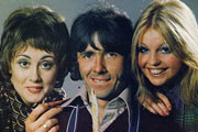 Man About The House. Image shows from L to R: Chrissy Plummer (Paula Wilcox), Robin Tripp (Richard O'Sullivan), Jo (Sally Thomsett). Image credit: Thames Television.