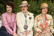 Mapp & Lucia. Image shows from L to R: Elizabeth Mapp (Miranda Richardson), Georgie Pillson (Steve Pemberton), Lucia Lucas (Anna Chancellor). Copyright: BBC.
