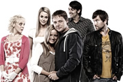 Married Single Other. Image shows from L to R: Babs (Amanda Abbington), Abbey (Miranda Raison), Lillie (Lucy Davis), Eddie (Shaun Dooley), Clint (Ralf Little), Dickie (Dean Lennox Kelly). Image credit: Left Bank Pictures.