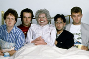 The Mary Whitehouse Experience. Image shows from L to R: Steve Punt, Robert Newman, David Baddiel, Hugh Dennis. Image credit: British Broadcasting Corporation.