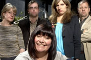 Mastering The Universe. Image shows from L to R: Sally Grace, Dan Tetsell, Professor Joy Klamp (Dawn French), Lucy Montgomery, Christopher Douglas. Copyright: BBC.