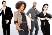 Material Girl. Image shows from L to R: Marco Keriliak (Michael Landes), Ali Redcliffe (Lenora Crichlow), Chris (O.T. Fagbenle), Davina Bailey (Dervla Kirwan). Copyright: Carnival Films.