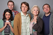Milton Jones's House Of Rooms. Image shows from L to R: Alice (Cordelia Bugeja), Paul (Colin Hoult), Milton (Milton Jones), Milton's Mother (Susie Blake), Tony (Alexander Kirk). Copyright: Objective Productions.