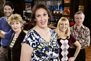 Miranda. Image shows from L to R: Gary (Tom Ellis), Penny (Patricia Hodge), Miranda (Miranda Hart), Stevie (Sarah Hadland), Clive (James Holmes). Copyright: BBC.