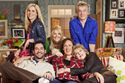 Miranda. Image shows from L to R: Tilly (Sally Phillips), Gary (Tom Ellis), Stevie (Sarah Hadland), Miranda (Miranda Hart), Penny (Patricia Hodge), Clive (James Holmes). Copyright: BBC.