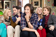 Miranda. Image shows from L to R: Tilly (Sally Phillips), Gary (Tom Ellis), Miranda (Miranda Hart), Stevie (Sarah Hadland), Penny (Patricia Hodge). Image credit: British Broadcasting Corporation.