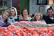 Miranda. Image shows from L to R: Penny (Patricia Hodge), Stevie (Sarah Hadland), Miranda (Miranda Hart), Tilly (Sally Phillips), Gary (Tom Ellis). Copyright: BBC.