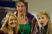 Miranda. Image shows from L to R: Stevie (Sarah Hadland), Miranda (Miranda Hart), Penny (Patricia Hodge). Copyright: BBC.